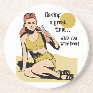 Portas copos retros do bebendo da cerveja porta copos de arenito