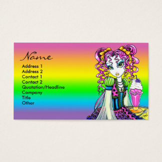 Porte postal da fada do arco-íris do sorvete do cartão de visitas