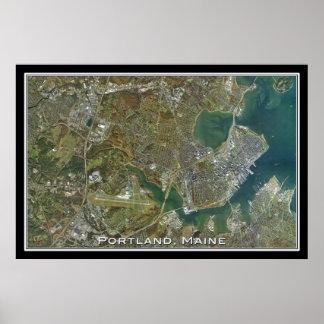 Portland Maine da arte do satélite do espaço Poster