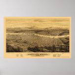 Portland, OU mapa panorâmico - 1879 Posters