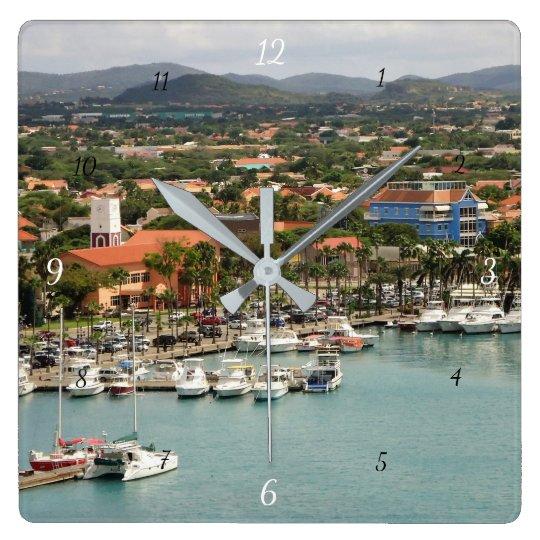 Porto de Aruba Relógio Quadrado