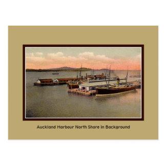 Porto de Auckland do vintage, costa norte Cartão Postal
