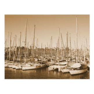 Porto de Barcelona - veleiros - cartão Cartão Postal