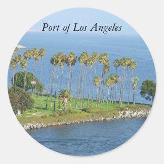 Porto de etiquetas das palmeiras de Los Angeles Adesivos Em Formato Redondos