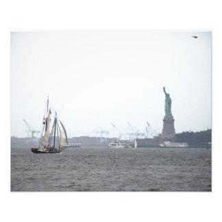 Porto de New York na névoa Fotografia