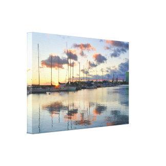 Porto do barco no por do sol em canvas de Waikiki Impressão Em Tela