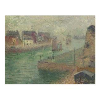 Porto em Dieppe na névoa por Gustave Loiseau Cartões Postais