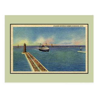 Porto entrando Muskegon MI do navio a vapor do Cartão Postal