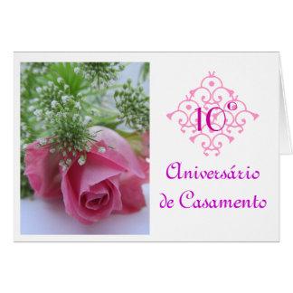 Português: 10 Aniversario de casamento Cartão De Nota