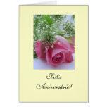 Português: Aniversário Rosa: Feliz Aniversário! Cartão Comemorativo