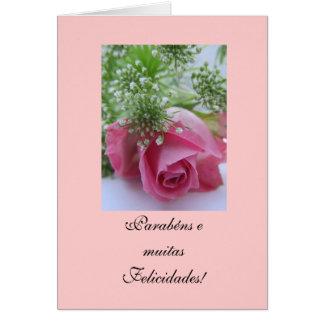Português: Aniversário/Rosa: Parabéns! Cartão Comemorativo