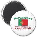 Português bonito ímã redondo 5.08cm