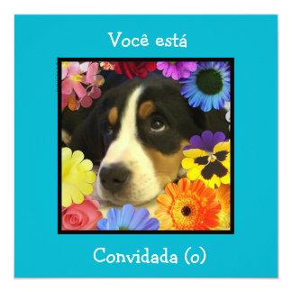 Português: Convite/convite do aniversário Convite Quadrado 13.35 X 13.35cm
