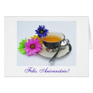 Português: Diâmetro de anos: Aniversário de Chá e Cartão Comemorativo
