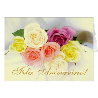 Português Feliz Aniversario cores do beije dos r Cartões