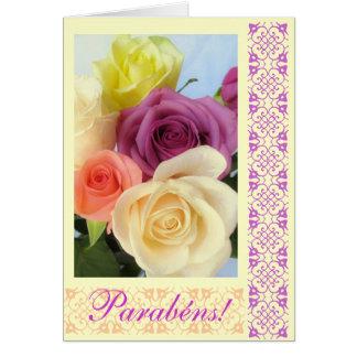Português: Parabens! Feliz aniversario! Cartão Comemorativo