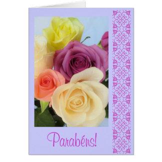 Português: Parabens! - rosas Cartão Comemorativo