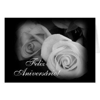 Português Parabens Rosas do aniversário Cartoes