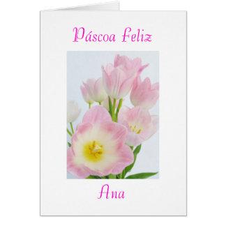 Português: Páscoa de Páscoa Feliz-tulipas /Happy Cartão Comemorativo