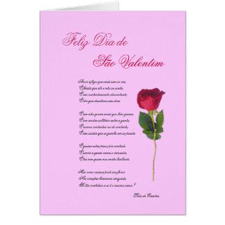 Português: poema e rosa - dia dos namorados cartão