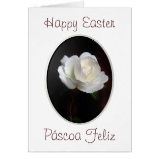 Português: Rosa branco do felz pascoa Cartão Comemorativo