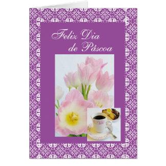 Português: tulipas dos folares e/bolo da páscoa cartão comemorativo
