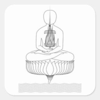 Pose da meditação de Jnanarnava com fogo Adesivo Quadrado