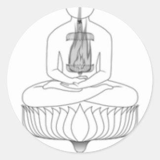 Pose da meditação de Jnanarnava com fogo Adesivo Redondo
