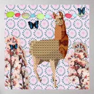 Posição do borboleta de Boho da flor de cerejeira  Poster
