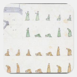 Posições diferentes do corpo durante a oração de adesivos quadrados
