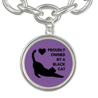 Possuído orgulhosa por um gato preto braceletes com charm