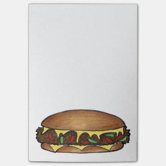 Post-it do sanduíche de bife do queijo de bloco de notas