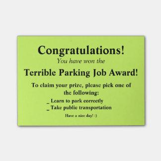 Post-it terrível do estacionamento bloquinho de notas