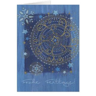 Postal de natal com alfaia em azul e Gold