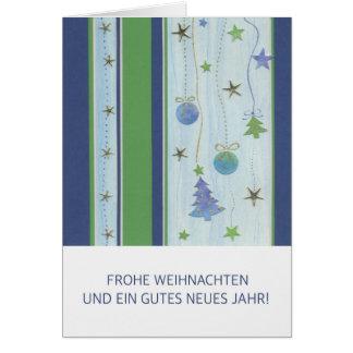 Postal de natal tiras azuis com estrelas