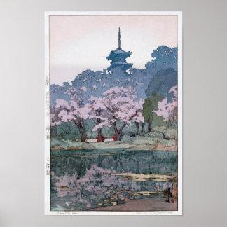 Poster 三渓園, Sankei-en jardim, Hiroshi Yoshida, Woodcut