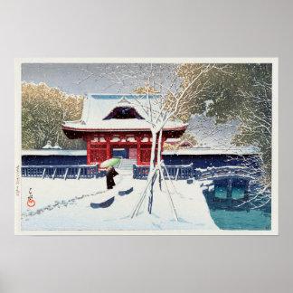 Pôster 芝公園の雪, neve no parque de Shiba, Tokyo, Hasui