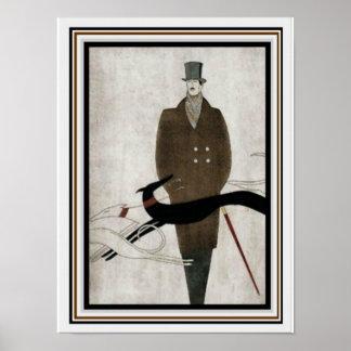 Poster 12 x 16 da forma dos homens do art deco
