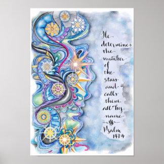 Pôster 147:4 do salmo chama as estrelas pelo cartaz