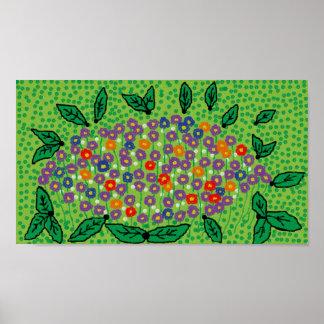 poster 14 x 11 do design floral verde