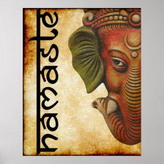 """Pôster 16"""""""" design indiano do namaste do ganesha do deus"""