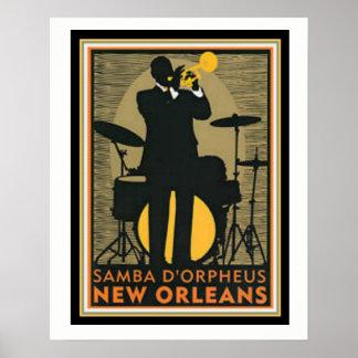 Poster 16 x 20 de D'Orpheus Nova Orleães da samba