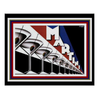 Poster 16 x 20 de Martini do art deco
