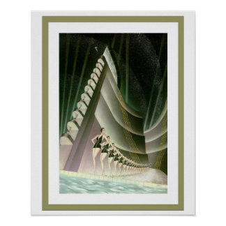 Poster 16 x 20 dos nadadores do art deco