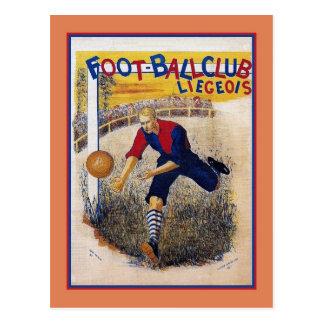 Poster 1894 do anúncio do futebol do futebol do cartão postal
