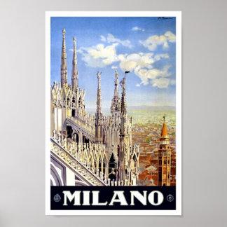 Poster 1920 das viagens vintage de Milão Pôster