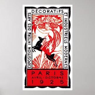 Poster 1925 do art deco de Paris