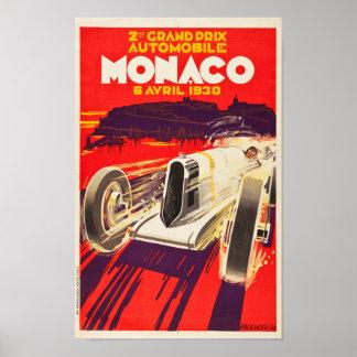 Poster 1930 grande de Monaco Prix do vintage