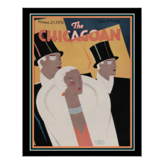 Pôster 1931 o cobrir Chicagoan 16 x 20 do art deco