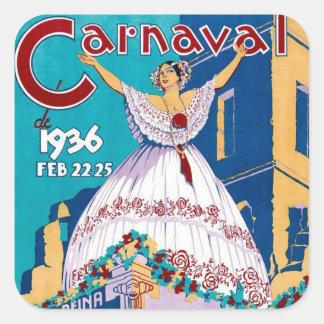 Poster 1936 de Carnaval de Panamá do vintage Adesivos Quadrados